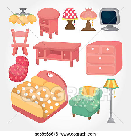 Furniture clipart furnature. Vector illustration cute cartoon