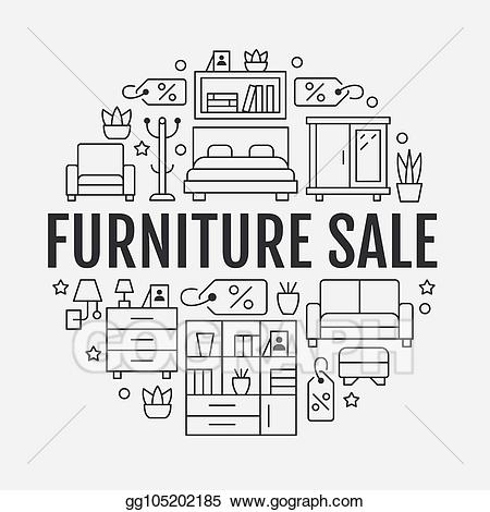 Furniture clipart furniture sale. Vector banner illustration with