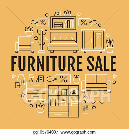 Vector banner illustration with. Furniture clipart furniture sale