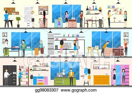 Eps illustration interior vector. Furniture clipart furniture store