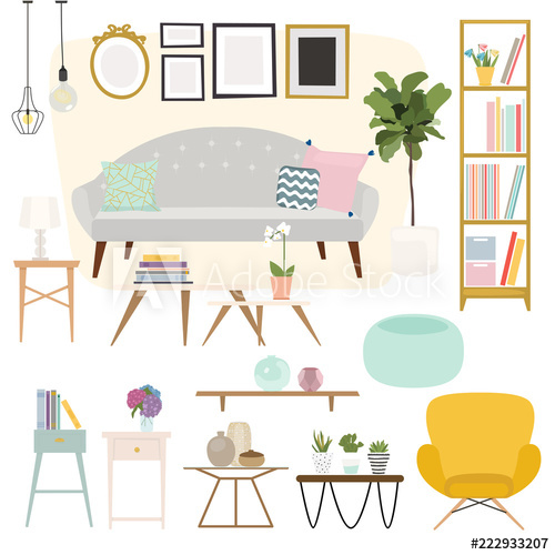 Furniture clipart home accessory. Living room and accessories