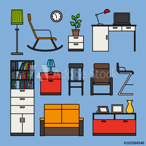 And accessories icons flat. Furniture clipart home accessory