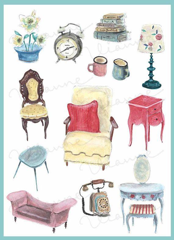 Clip art opaque watercolor. Furniture clipart home accessory