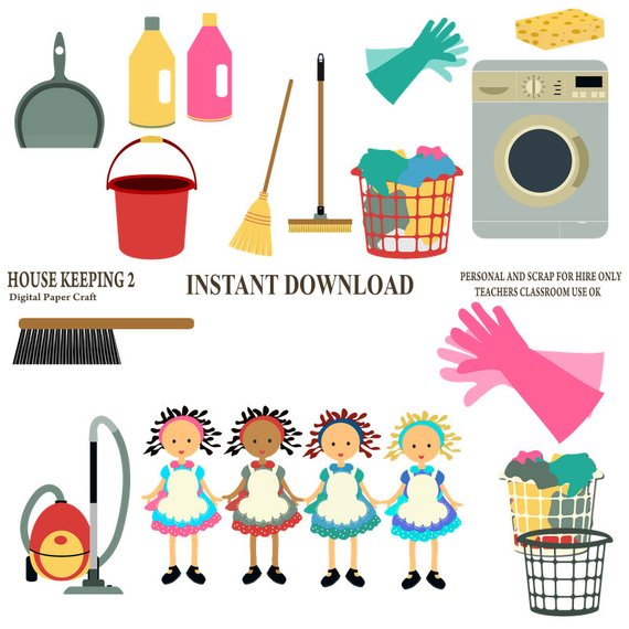 Furniture clipart household supply. Cleaning house work chore