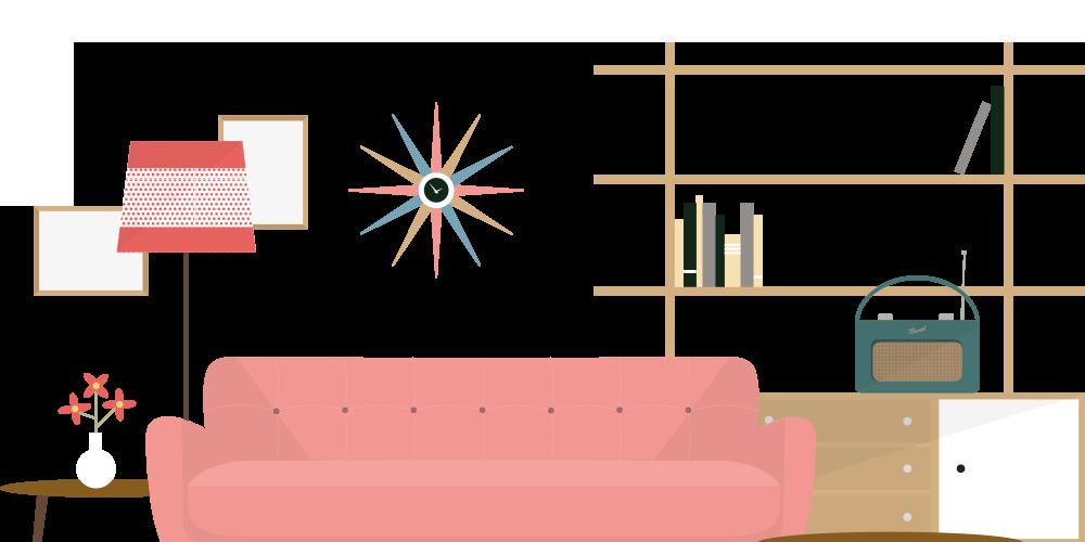 By decade beautiful flat. Furniture clipart interior design