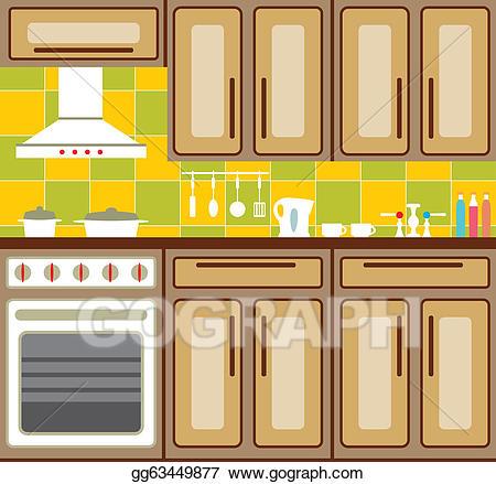 Vector illustration . Kitchen clipart kitchen furniture