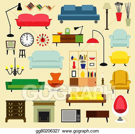 Furniture clipart living room. Eps illustration ideas for