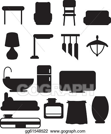 Vector art silhouettes drawing. Furniture clipart object