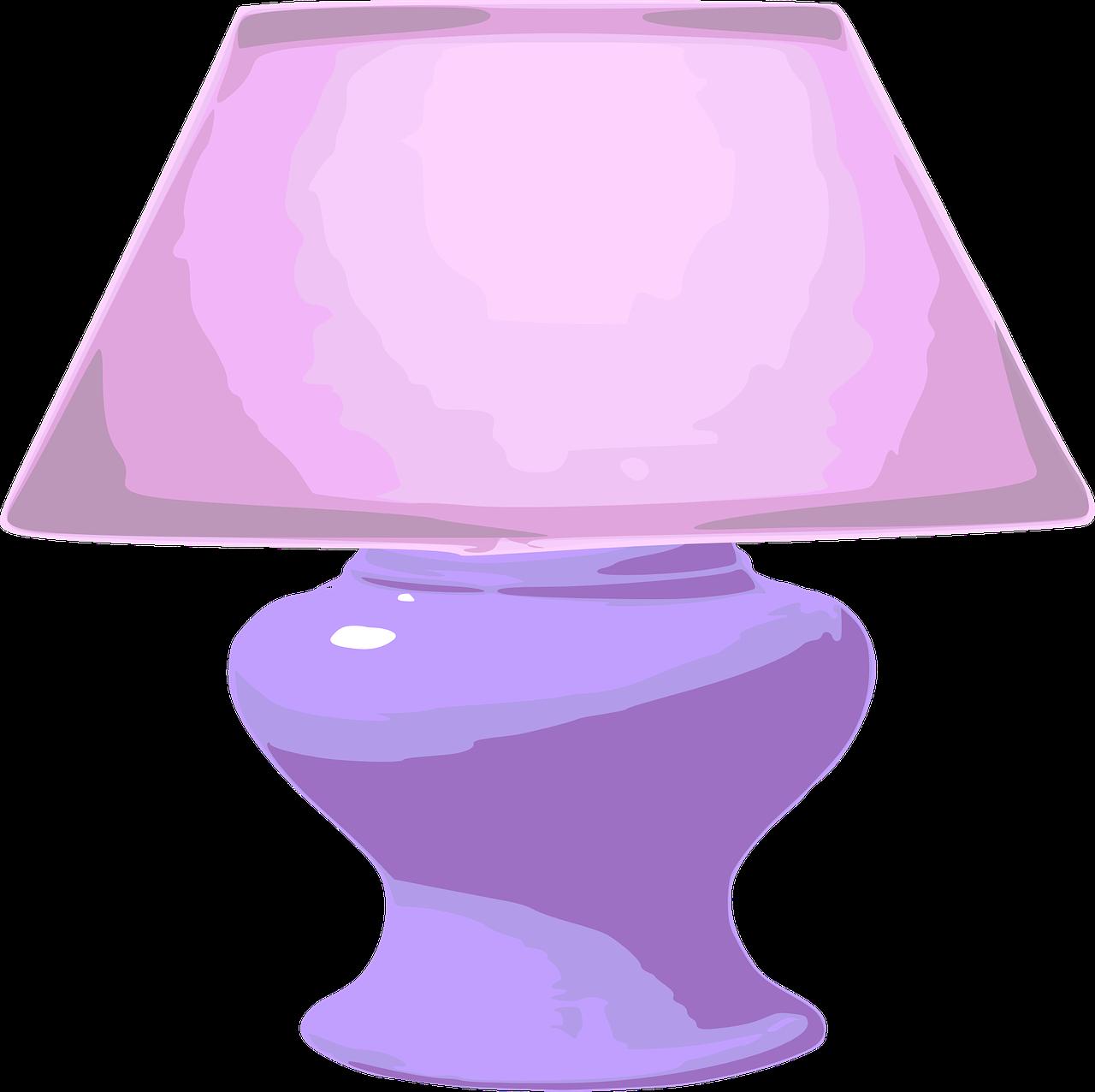 Furniture clipart pink lamp. Home decor purple cartoon