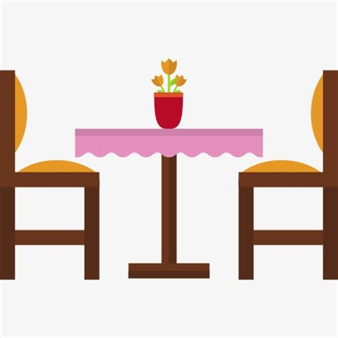 Dining tables and chairs. Furniture clipart restaurant table
