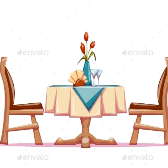Furniture clipart restaurant table. Vector illustration of with