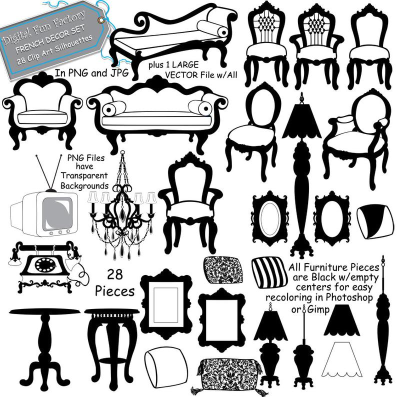 Silhouette clip art frames. Furniture clipart silhouettes