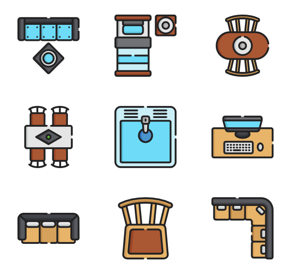 icon packs vector. Furniture clipart top view