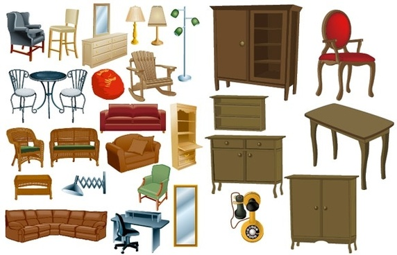 Realistic free vector download. Furniture clipart used furniture