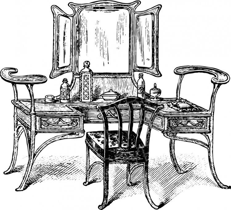 Furniture clipart vanity table. Vintage prawny