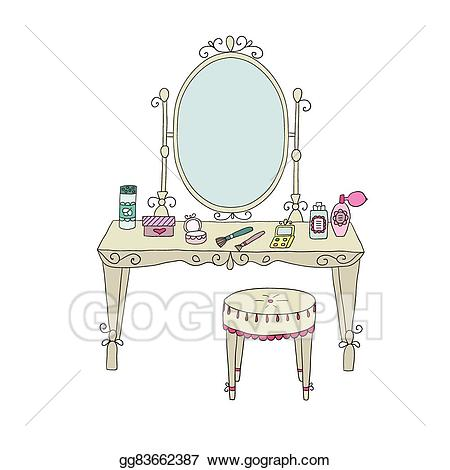 Furniture clipart vanity table. Vector illustration with makeup