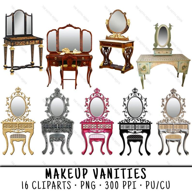 Furniture clipart vanity table. Makeup png desk