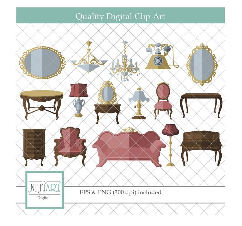 Furniture clipart vector. Living room graphics vintage