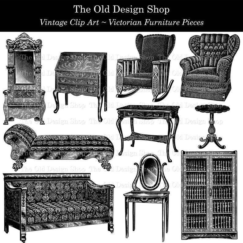 Furniture clipart victorian furniture. Clip art vintage illustrations