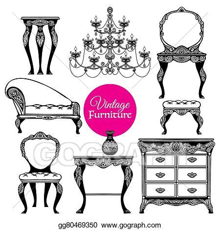 Vector illustration hand drawn. Furniture clipart vintage furniture
