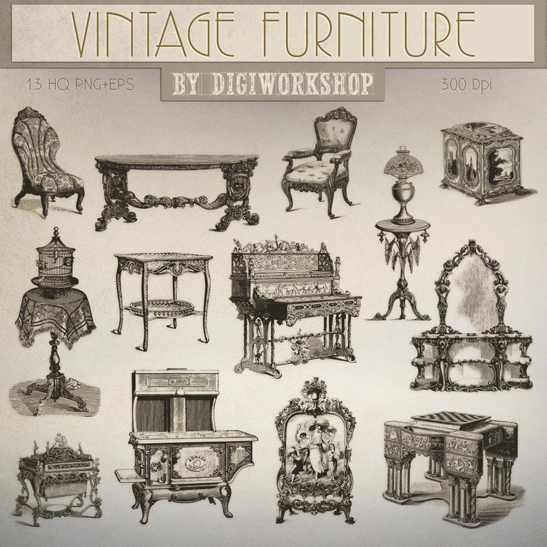 Furniture clipart vintage furniture. Clip art contains antique