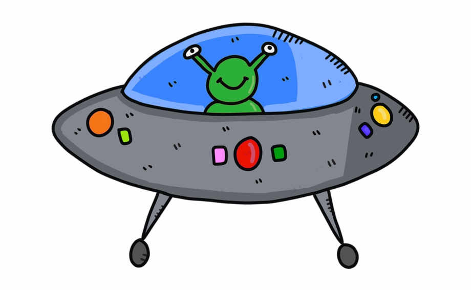Ufo clipart comic. Alien spaceship future fantasy