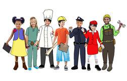 Future clipart child. Children wearing job panda