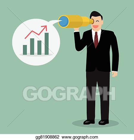 Vector illustration businessman looking. Future clipart corporate vision