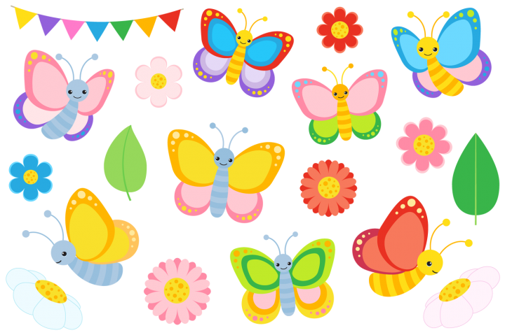 Colourful butterfly and vectors. Future clipart final decision