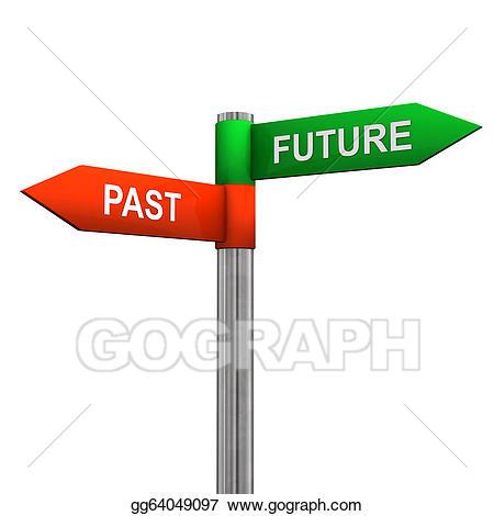 Stock illustration past sign. Future clipart future direction