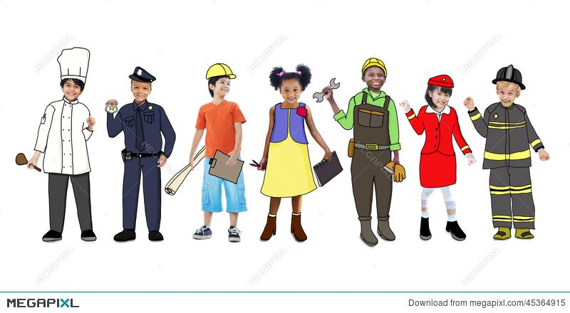 Future clipart future job. Children wearing uniforms illustration