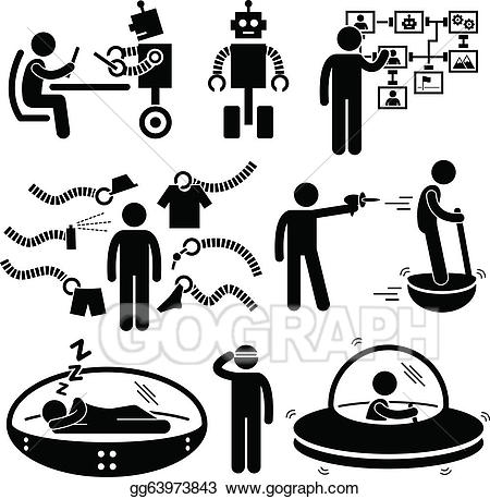 Vector robot pictogram . Technology clipart future technology
