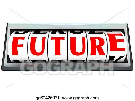 Future clipart future word. On odometer time progressing