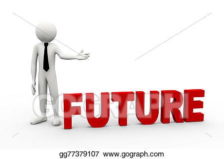 Stock illustration d businessman. Future clipart future word