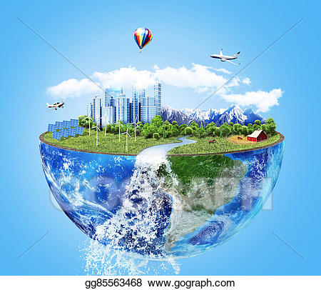 Stock illustration eco concept. Future clipart future world