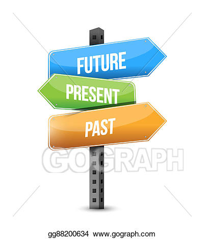 Road sign stock . Future clipart past present future