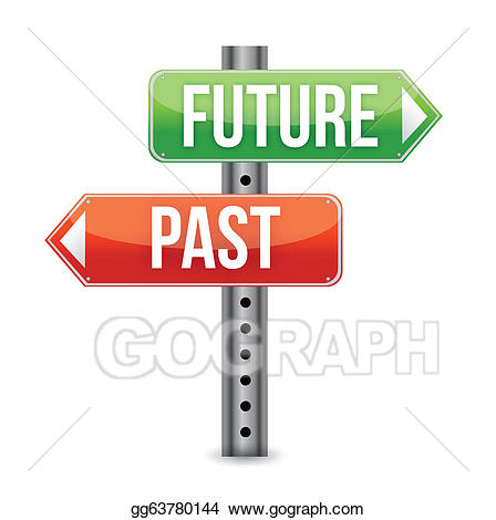 Vector or sign illustration. Future clipart past