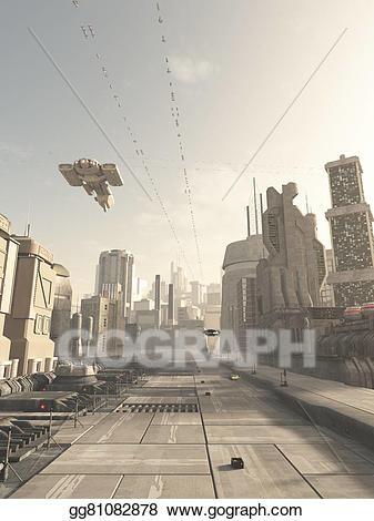 Future clipart spaceship. Stock illustration city street