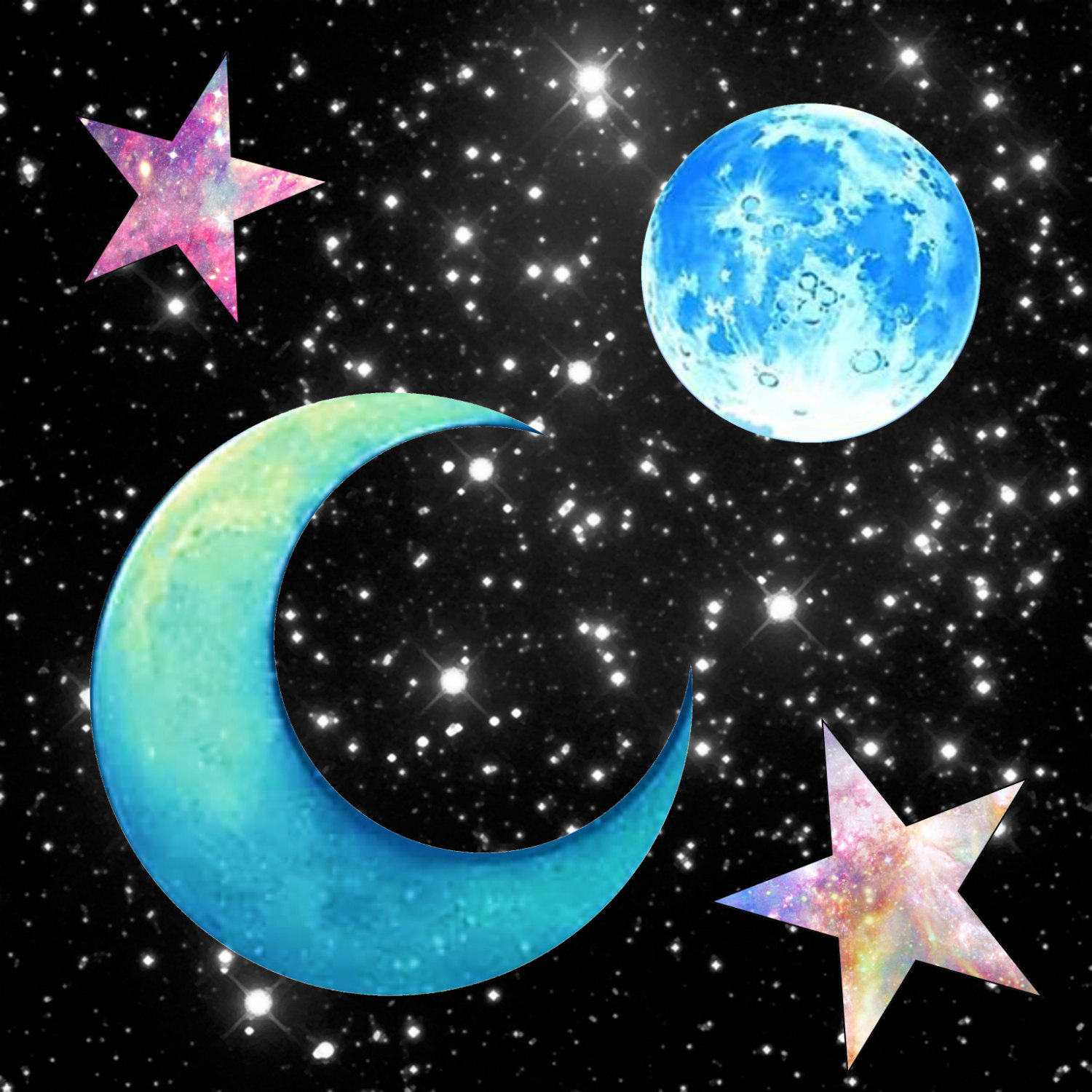 Galaxy clipart. Moon and stars png