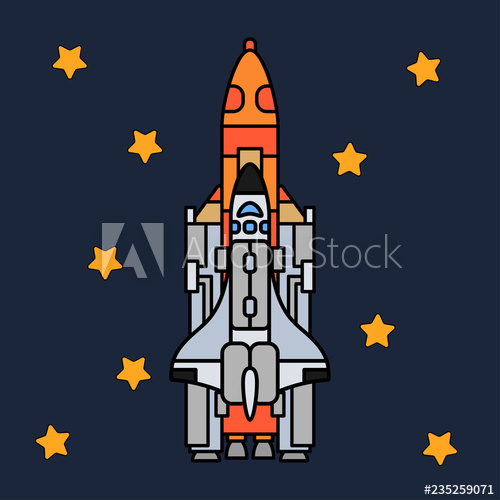 Spaceship clipart technology vector. Line flat color icon