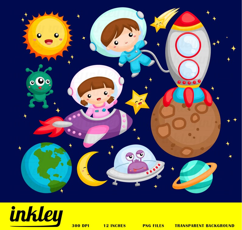 Galaxy clipart animated space. Png clip art astronaut