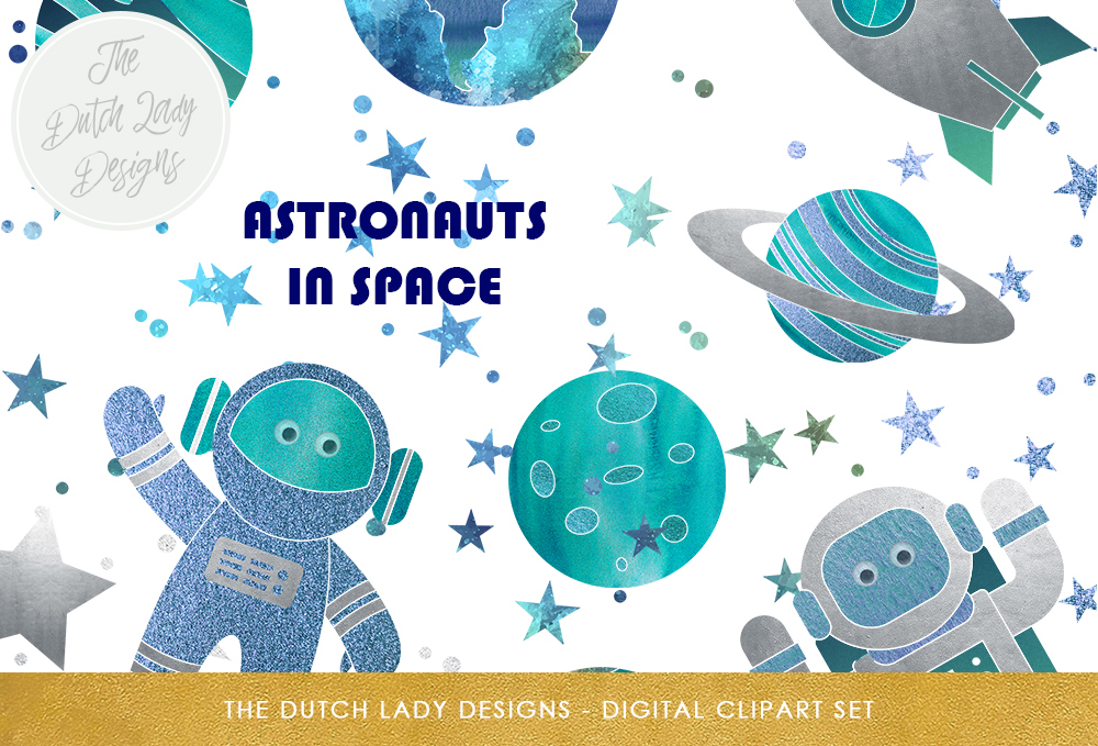 Space set cute rocket. Galaxy clipart astronaut