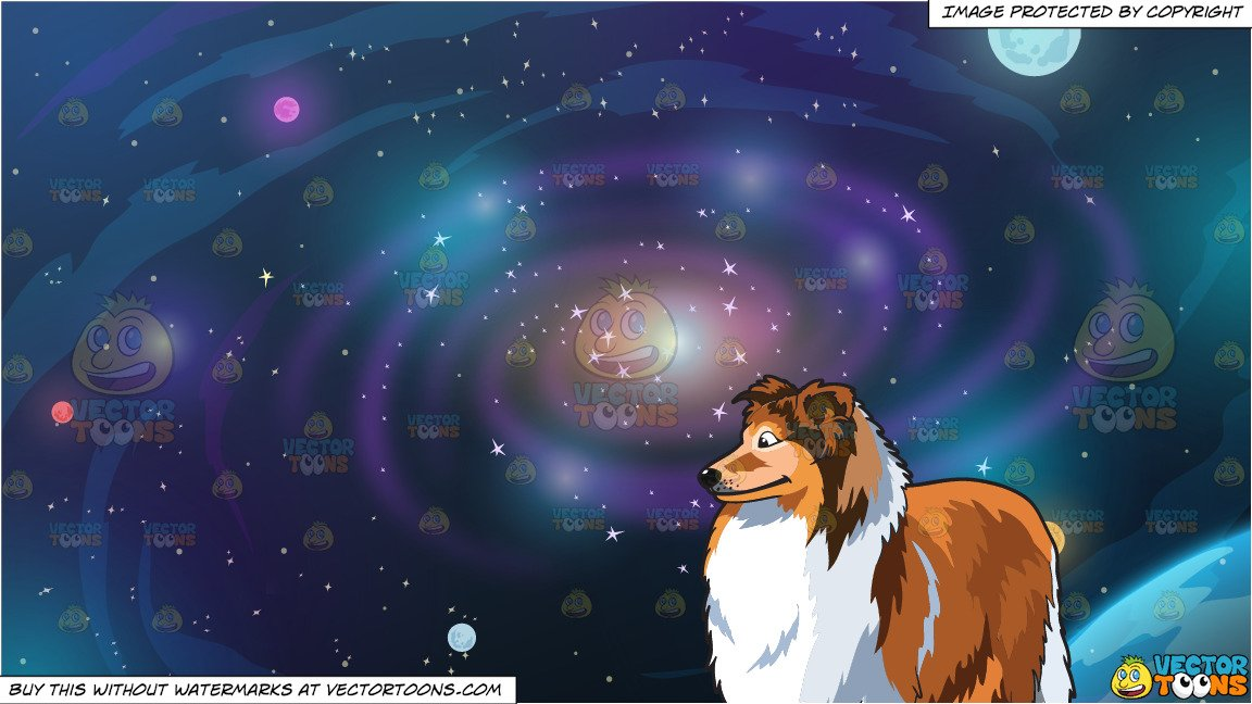 A collie and background. Galaxy clipart beautiful