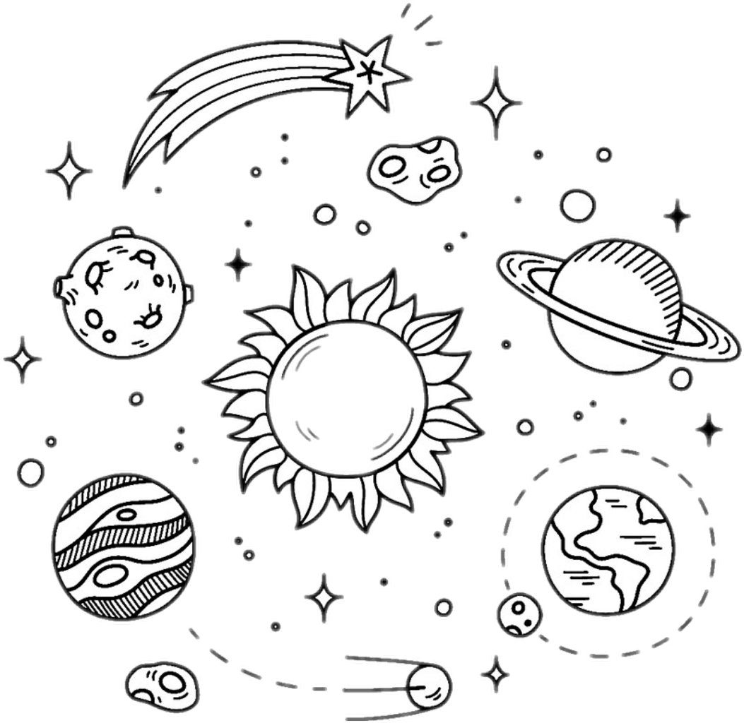 Galaxy clipart black and white. Stars planets overlay design