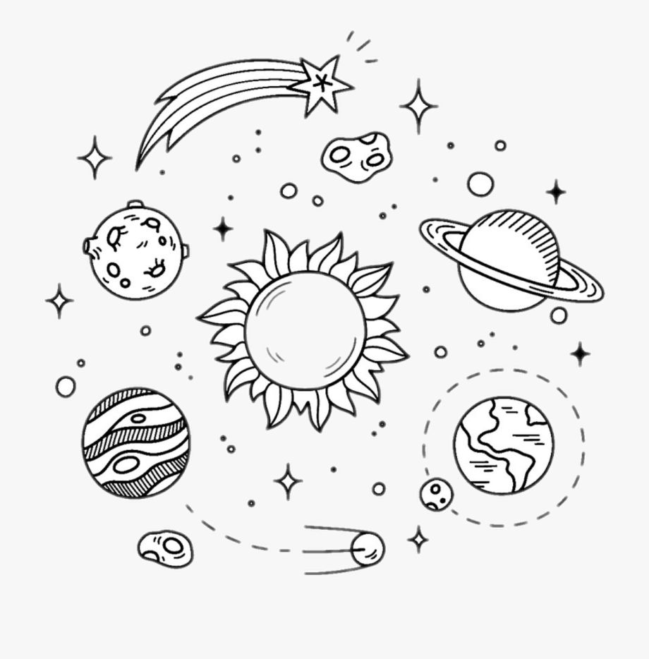 Space drawings cliparts . Galaxy clipart black and white