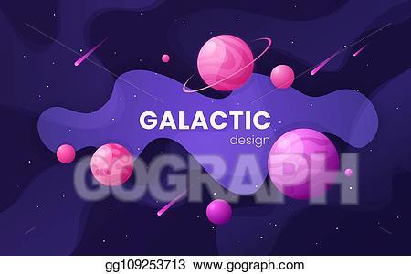 Galaxy clipart cartoon. Vector futuristic outer space
