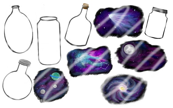 Hand drawn graphics in. Galaxy clipart clip art