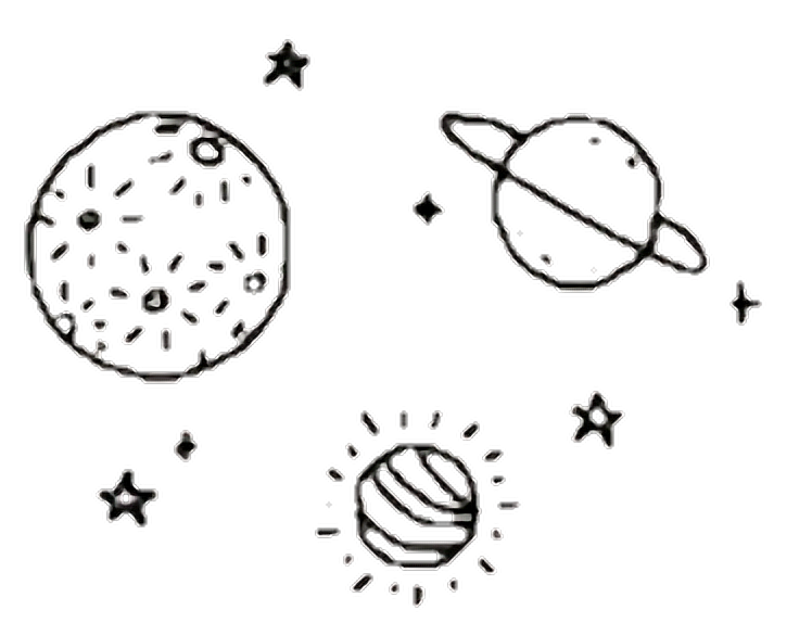 Space galaxy cosmic planets. Planet clipart aesthetic