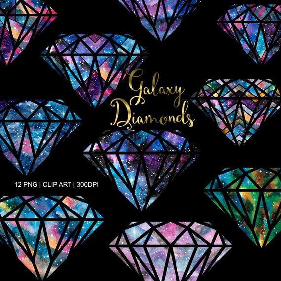 Galaxy clipart galaxy diamond. Diamonds watercolor crystal gems