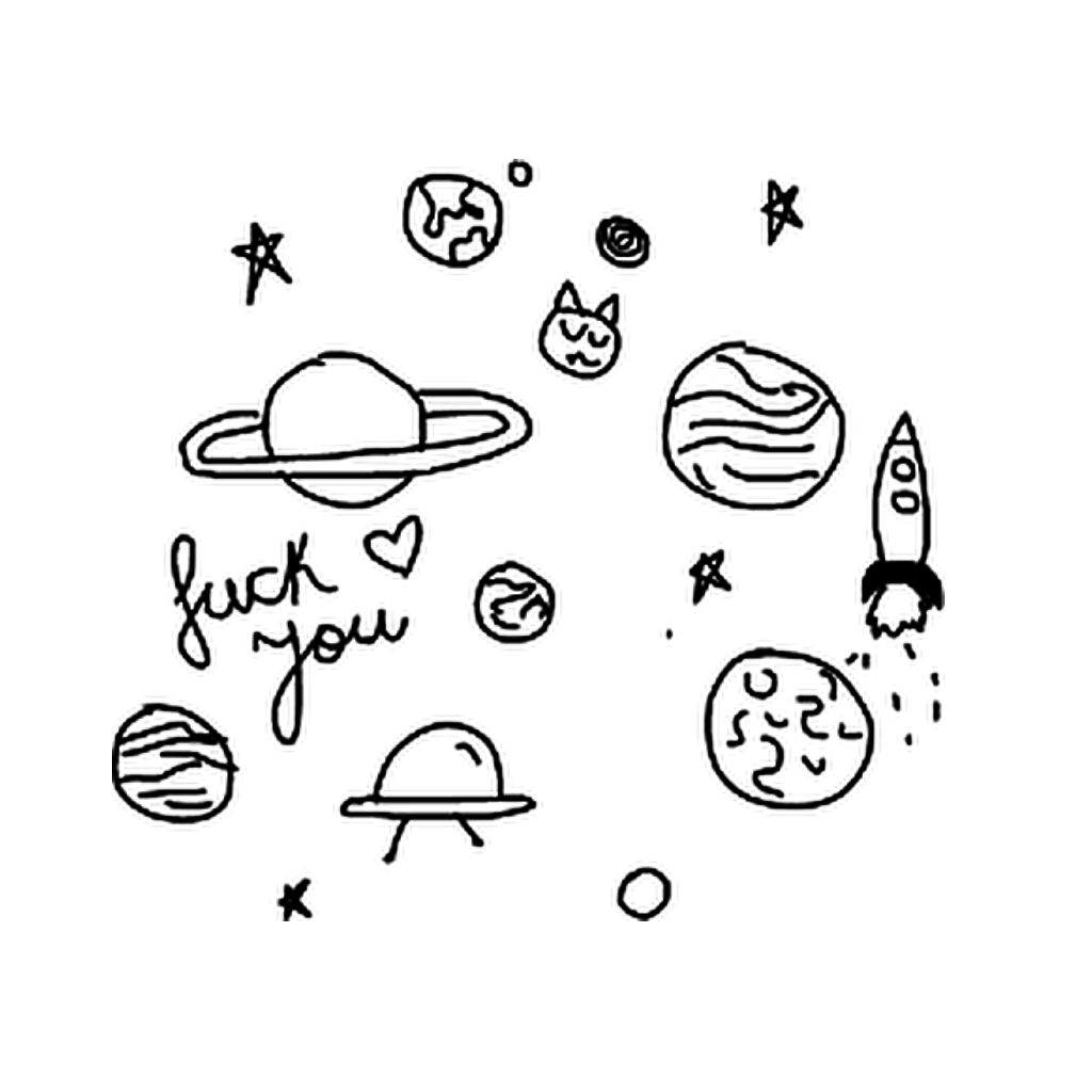 Planets clipart doodle tumblr. Galaxy black white blackandwhite
